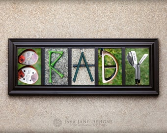 GOLF Letter Prints | Names Spelled Out in 4x6 Letters | Golf Name | Coach Gift | Game Room | Man Cave | Unframed Golf Gift