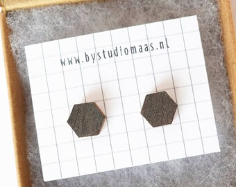 Geometric wood earrings, gray stud earrings, wooden jewellery, wedding earrings, wood jewelry, gift for her, graphite, hexagoon, geometric