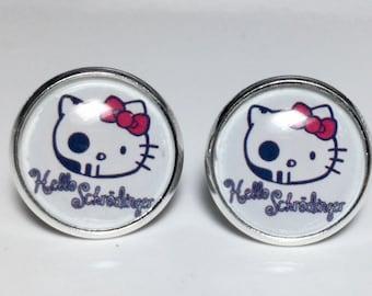 Hello Kitty Schrodinger Cat Earrings Science Astronomy Physics Earrings