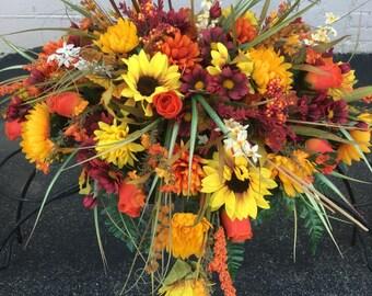 Fall Cemetery Flowers