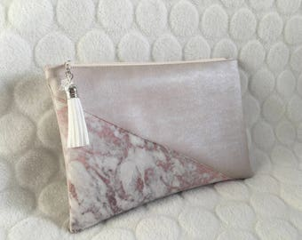 Makeup Kit in faux leather pink marble powder/sleeve/fabric