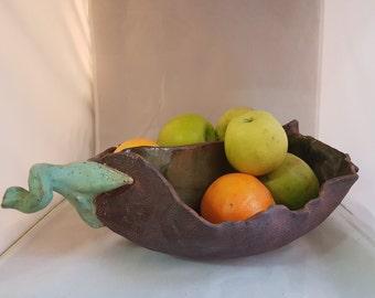 Organic shaped big divided pod bowl - unique hand made ceramic