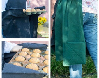 Potholder Apron with Pocket and built-in Potholders, Long Apron for Women, Full Apron, Womens Apron, Kitchen Apron, Cooking Apron