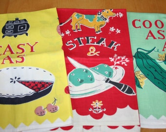 Mid Century Kitchen Tea Towels  Set of 3  MWOT