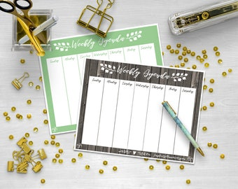 Weekly Agenda, Desktop Planner, Planning Sheet, Printable Planner, Printable PDF, Weekly Spread, Desktop Agenda, Worksheet, Calendar