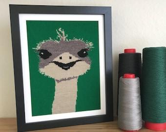 Ostrich Knit Illustration 8x10 Textile Wall Art - Green