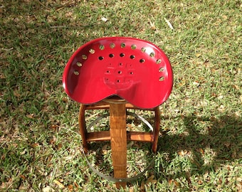 Reclaimed Tractor Seat Stool made from Wine Barrel Staves