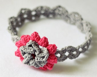 Crochet PATTERN  - Cherry Blossom Headband (sizes - baby to adult)
