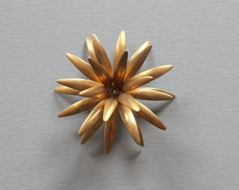 Vintage Oxidized Brass Riveted Flower Finding