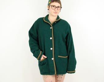 Vintage Dark Green Woolrich Wool Boucle Coat Women's Large