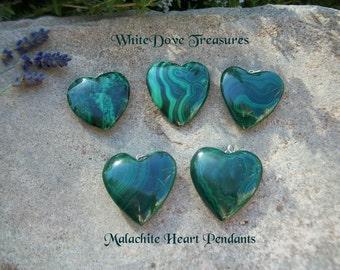 """MALACHITE HEART PENDANT 1"""" ~ Malachite Heart Gemstone ~ Choice Ribbon Necklace ~ Gift Box"""