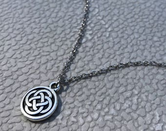 Celtic Necklace, Charm Jewelry, Irish Pendant, Gift for Girlfriend, Small Round Pendant