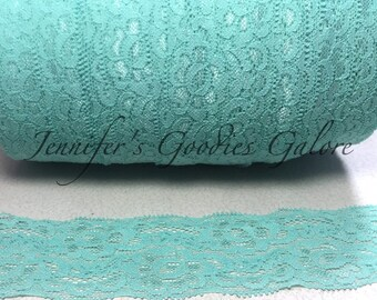 "Elastic Lace, 2"", AQUA, Lace by the yard, Stretch Lace, FOE Elastic, Lace Trim, Elastic Headband, Stretch Elastic, Headband Lace"