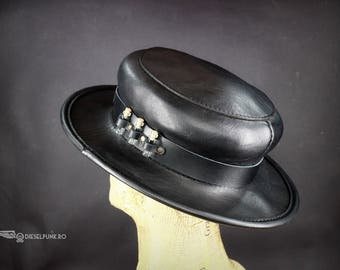 Plague Doctor Hat - Steampunk Hat - Top Hat - Leather Hat