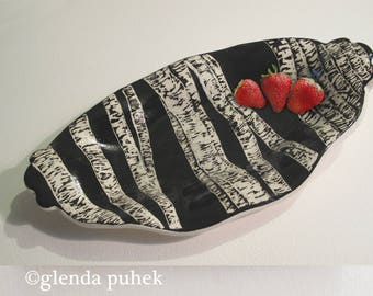 Black and White Ceramic Serving Tray Sgraffito Nature Abstract Hand Made 12in x 7in Art OOAK Tabletop Home Decor ©glenda puhek pottery