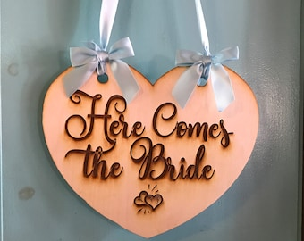 Here Comes the Bride- Rustic Wood Heart Engraved Wedding Sign- Personalize with Your Own Message!