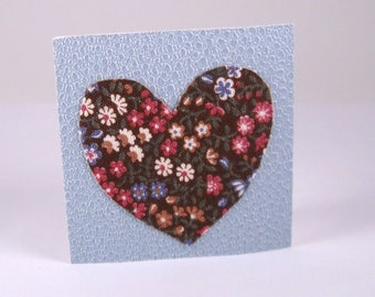 Valentines Heart Mini Blank Floral Note Card