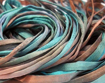 5YD. REFLECTION 4MM X 5YD. (15feet) Hand Dyed Silk Bracelet Cording//4MM Cording With Hollowed Center//Easy Insertion Of Memory Wire