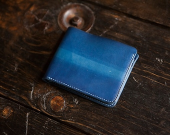 "Indigo Dyed Natural Vegetable Tanned Leather Bifold Wallet with indigo ""beam"" dye pattern"