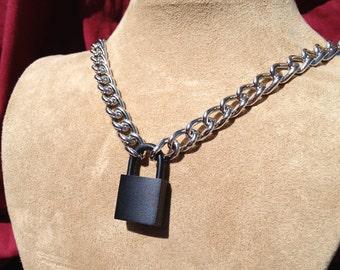 Chain Choker with Black Padlock