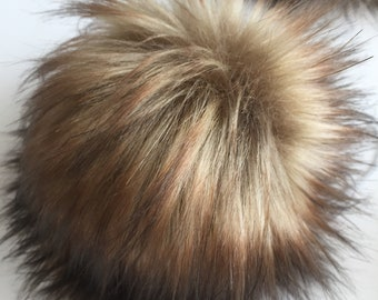Toasted Marshmallow Faux Fur Pom Poms Brown Tan Caramel Natural