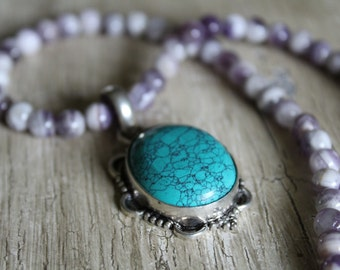 Turquoise Silver Pendant / Chevron Amethyst / Gemstone Necklace / Purple and Turquoise / Gifts for Her / Unique Jewelry / Peacock Jewelry