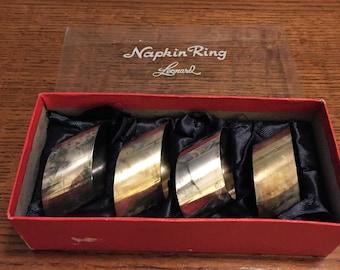 Vintage Leonard Set if 4 Silver Plate Super Cool Slanted Oval Napkin Rings