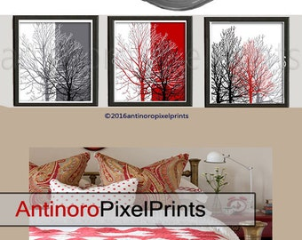 Home Decor Poster Black Grey Red White Tree Wall Art Print  - Set of (3) 11x14 Wall Art - (Unframed).