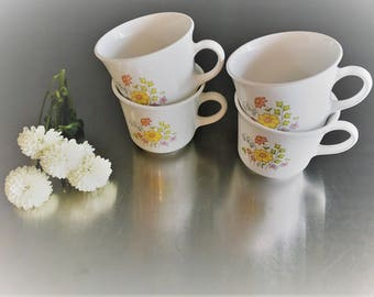 Four Corelle Meadow Pattern Cups - Vintage Floral Coffee or Tea Cups or Mugs