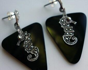 Seahorse Onyx Vintage Earrings