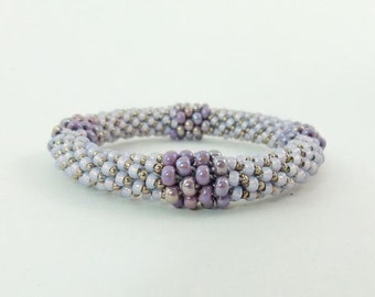 Lilac Bead Crochet Rope Bangle Bracelet, Ballroom Wedding or Special Occasion Jewelry - Item 1305c