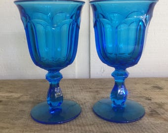 Imperial Glass/ Ohio / Old Williamsburg pattern/ antique blue / wine glasses