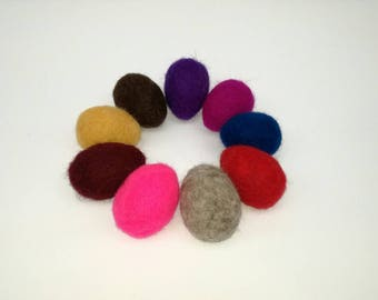 Felted Easter Eggs Set of 9, Color Egg, Needle Felted, Handmade, Decoration, Gift, Home Decor