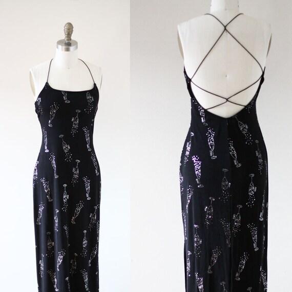1990s black Millenium maxi dress // 1990s slinky black dress // vintage dress