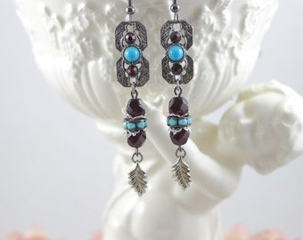 Southwestern Red and Turquoise Dangle Earrings, Boho Dangle Earrings, Jeweled Silver Assemblage Earrings, Silver Leaf Earrings