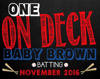 Baseball Pregnancy Announcement Chalkboard Photo Prop, Size: 11x14, *Digital File* by MMasonDesigns