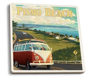 Pismo Beach, CA - VW Coastal Drive - LP Artwork (Set of 4 Ceramic Coasters)