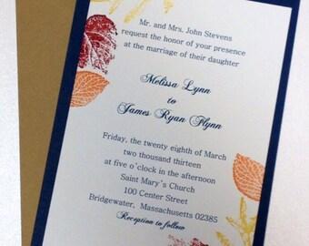 Fall wedding invitation, leaves invitation, wedding invitations
