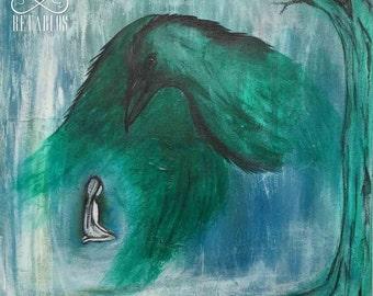 Retable Folk Art - produit avantage Animal Rescue, un assassinat de celui, Crow et arbre, enfant perdu / trouvé, bleus, verts, peinture acrylique