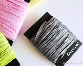 Charcoal Gray Raffia Ribbon - 30/100 yards - 1/4 inch wide