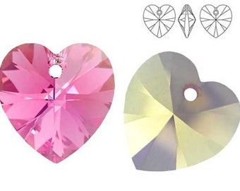 Swarovski Crystal 6228 Heart 10mm,  14mm - Rose AB