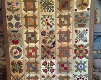 Primitive Quilt Pattern - Remember Me Applique Quilt Pattern
