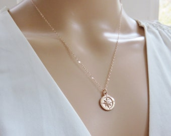 Rose Gold Compass Necklace, Graduation Gift for Her, Retirement Gift for Women, Compass Necklace, Graduation Gift, marciahdesigns, mhd