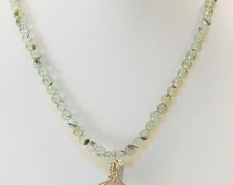 Prehnite Necklace and Pendant in Argentium Sterling Silver