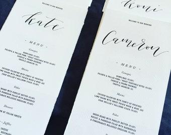 Handwritten calligraphy names on your wedding menu