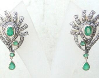 Victorienne diamant émeraude 14 K or boucle d'oreille argent Inde