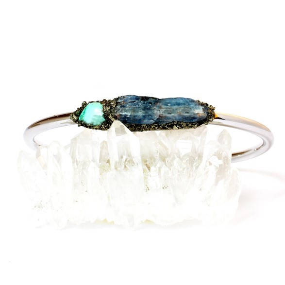 December Birthstone Turquoise and Kyanite Cuff Bracelet Jewelry in Silver, Gold, or Rose Gold / Christmas Gifts for Women, Her, and Mom