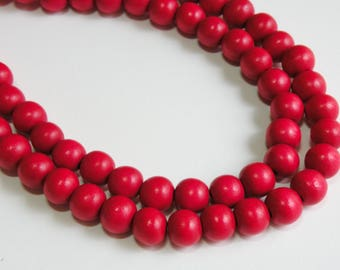Cherry Red wood beads round 10mm full strand eco-friendly Cheesewood 1610NB