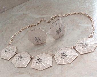 Spider Web Necklace Earring Set Enamel Eloxal West Germany Clip On Vintage V0889