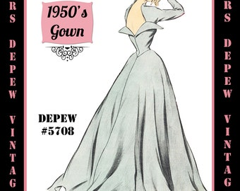Vintage Sewing Pattern 1950's Long Sleeve Evening Gown in Any Size - PLUS Size Included - Depew 5708-INSTANT DOWNLOAD-